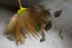 Garden broom and eaves Stock Image