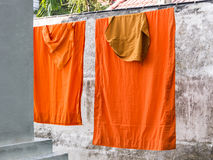 Washed and hung Clothes of buddhist Monks Royalty Free Stock Photos