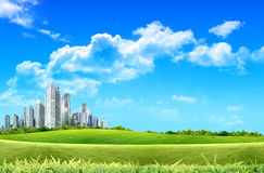 Garden and building towers Stock Image