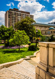 Garden and buildings in Mount Vernon, Baltimore, Maryland. Stock Photos