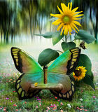 Garden of the butterfly. A butterfly chair in a garden with sunflowers and small butterflies Royalty Free Stock Image