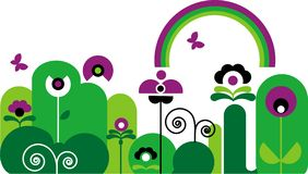 Garden with butterfly, rainbow and flowers. Abstract garden with butterfly, rainbow and green and purple flowers with swirls Stock Photo