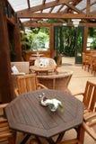 Garden cafe: outdoor dining. Outdoor garden cafe near Whangarei, New Zealand Stock Photos