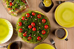 Garden cake. An improvised garden cake made from ground, grass, candles and cherry tomatoes Stock Photo