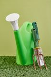 Garden Care. A studio photo of a garden equipment of artificial turf Stock Image