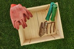 Garden Care. A studio photo of a garden equipment of artificial turf Stock Images