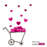 Garden cart with hearts. Royalty Free Stock Photography