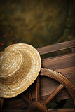 Garden Cart Straw Hat. Beautiful rich golden decorative garden ox cart. Can be used as a digital prop, adorned with flowers and straw hat royalty free stock photography