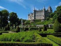 Dunrobin castle. The garden with the castle in the background. Golpsie, Scotland Stock Photo
