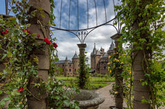 Garden of a Castle with flowers in the foreground Stock Photo