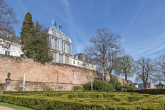 Garden of the castle in Saarbrucken. SAARBRUCKEN, GERMANY - APRIL 10: The garden of the castle in Saarbrucken on a sunny spring day. April 10, 2015 in Royalty Free Stock Photo