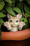 Garden cat. Garden toy Terracotta vase for plants Royalty Free Stock Photography