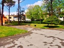 Garden in the center of Agliana stock photos
