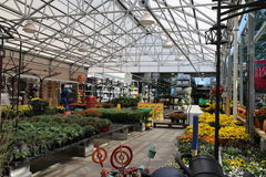The Garden Center. This garden center is equipped with everything that people will need for the fall season. The glass ceiling makes everything bright and Stock Photos