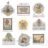 Garden center logo set. Set of retro garden center logotypes, emblems, labels, badges in pastel colors. Vintage stamps with hand drawn garden elements and Royalty Free Stock Photo