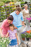Garden centre family shopping flowers Royalty Free Stock Photo