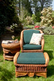 Garden chair with footstool Royalty Free Stock Photo