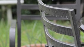 Garden Chair in the Rain stock video