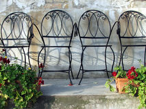 Garden chairs 2. Steel garden chairs in a row Royalty Free Stock Images