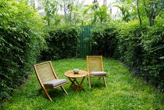 Garden chairs on the backyard