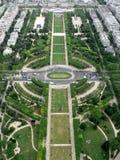 Garden Champ de mars. Champ de mars - view from Eiffel tower, Paris stock image