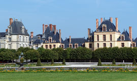Garden of the chateau de Fontainebleau stock photos