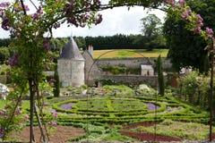 Garden and chateau La Chatonniere near Villandry. Loire Valley Stock Photos