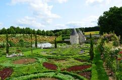 Garden and chateau La Chatonniere. Sophisticated and full taste garden and chateau La Chatonniere near Villandry. Loire Valley stock image