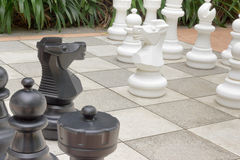 Garden chess. Outdoor Chess set in the garden Royalty Free Stock Image