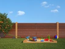 Garden with children's playground Stock Photo