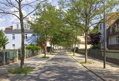 Garden City Marga. The oldest German garden city was built as a residential area for the workers of Ilse Bergbau AG early 20th century in the late Art Nouveau royalty free stock photo