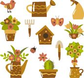 Garden clip-art. Gardening tools and plants in pots Royalty Free Stock Images