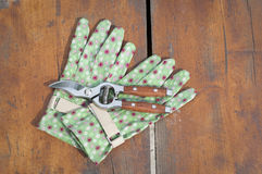 Garden clippers and gloves Stock Photography