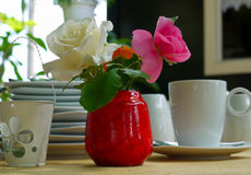 Garden coffee table place setting Royalty Free Stock Photo