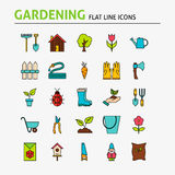 Garden Colorful Flat Line Icons Set Royalty Free Stock Photos