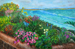 Garden of colorful flowers on a beach. Original textured impasto oil pastel drawing of a tropical scenery: a garden full of an assortment of different flowers Royalty Free Stock Photo