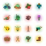 Garden comics icons set Stock Photos