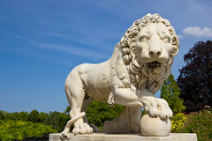 Garden of the Compiegne Imperial Castle. Lion sculpture, a piece of the wonderful garden of the Compiegne Imperial Castle, France Stock Image