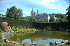 Garden composition. From the park of Durbue Castle, Belgium Stock Photos