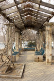 The garden corridor pergola in a park Stock Image