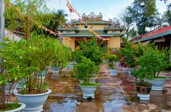 Garden in the courtyard of Buddhist temple Chua Tong Lam Van Thien stock images