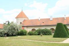 Garden on courtyard of castle in Telc Royalty Free Stock Photos