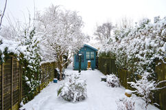 Garden Covered With Snow Royalty Free Stock Images