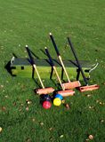 Garden Croquet. A Croquet set on the lawn stock image