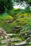 Garden culture landscape with marble stone stairs stock photo