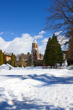 Garden of Curtea de Arges monastery in winter Stock Photo