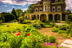 Garden and the Cylburn Mansion at Cylburn Arboretum in Baltimore. Maryland stock images