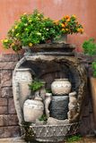 Garden decorate with a jar. stock photos