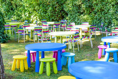 Garden decorated for Chidren Party. Modern and comfortable soft. Garden decorated for Children Party Stock Photos