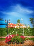 Garden decoration. Big bicycle in garden at Hua-Hin atraction Royalty Free Stock Images